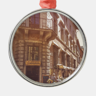 Rome Italy Italian Grocery Getter Bike Cobblestone Silver-Colored Round Decoration