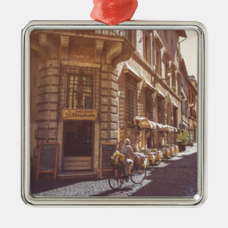 Rome Italy Italian Grocery Getter Bike Cobblestone Silver-Colored Square Decoration