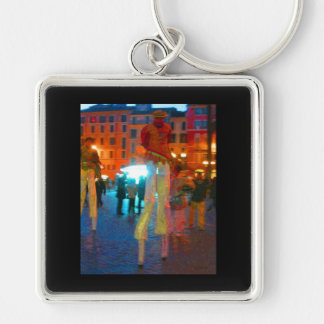 Rome Italy Silver-Colored Square Key Ring