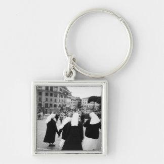 Rome Italy, Nun Patrol! (NR) Silver-Colored Square Key Ring