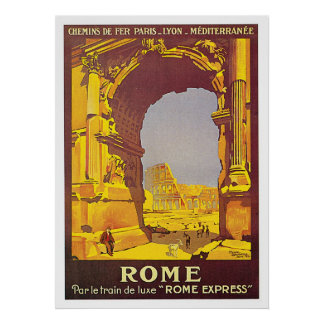 """Rome, Italy """"Rome Express"""" Vintage Travel Poster"""