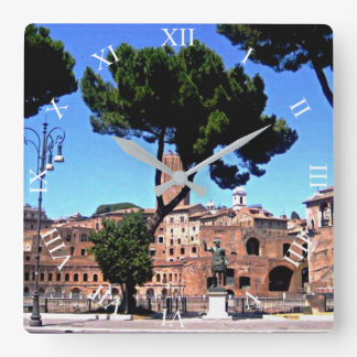 Rome Italy Square Wall Clock