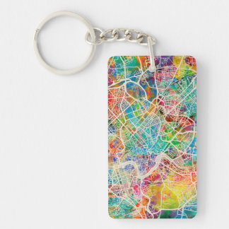 Rome Italy Street Map Double-Sided Rectangular Acrylic Key Ring
