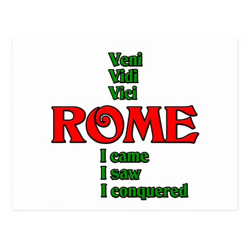 Rome Italy Veni Vidi Vici Postcards
