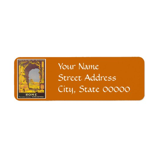 Rome, Italy Vintage Travel Poster Return Address Label