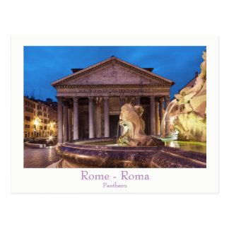 Rome - Pantheon at night postcard with text