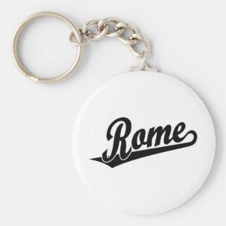 Rome script logo in black keychains