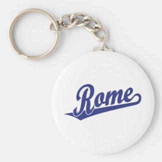 Rome script logo in blue key chains
