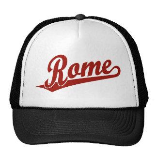 Rome script logo in red mesh hat
