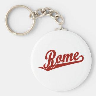 Rome script logo in red key chain