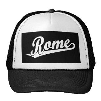 Rome script logo in white trucker hat