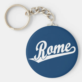 Rome script logo in white keychain