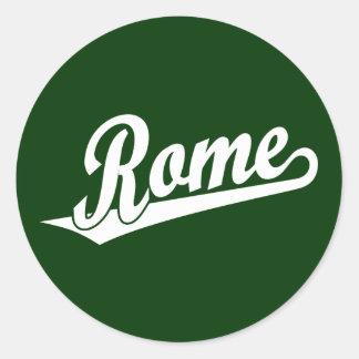 Rome script logo in white round sticker