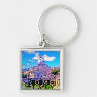 Rome Silver-Colored Square Key Ring