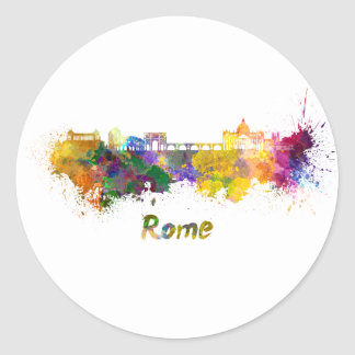 Rome skyline in watercolor round sticker