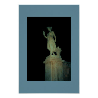 Rome Statue At Night Poster