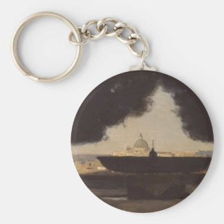 Rome The Fountain of the Academie de France Basic Round Button Key Ring