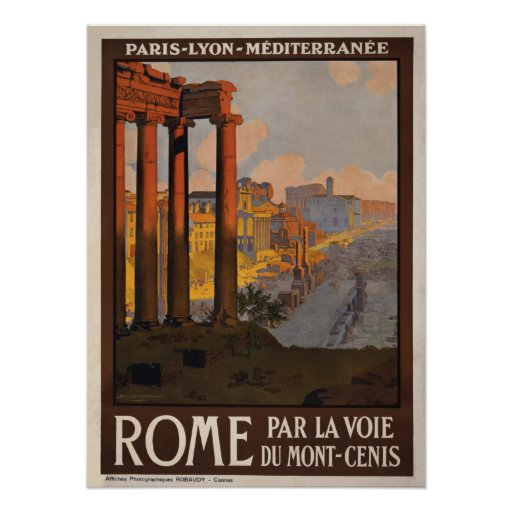 Rome through the Mont-Cenis Travel Poster
