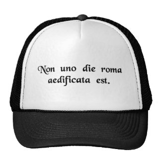 Rome was not built in one day. cap