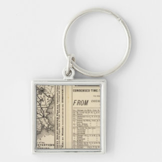 Rome, Watertown and Ogdensburg Railroad 2 Silver-Colored Square Key Ring