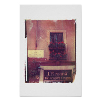 Rome Window with Geraniums Poster