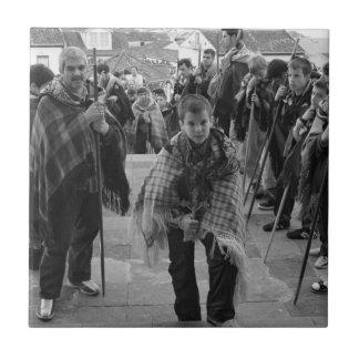 Romeiros pilgrims small square tile