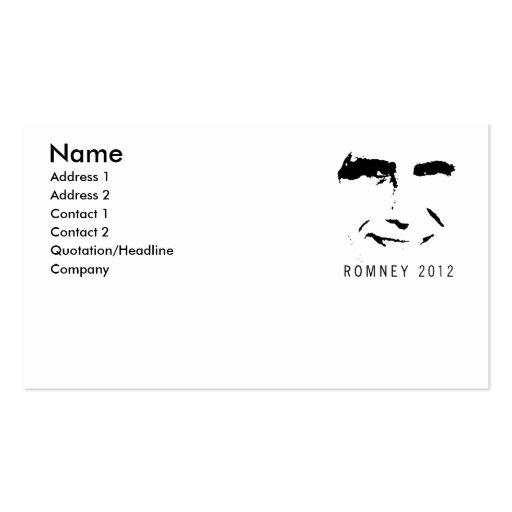 Romney 2012 Face Business Card Template