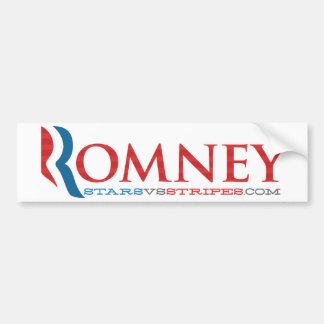Romney 2012 on white - Stripes - Sticker Bumper Sticker
