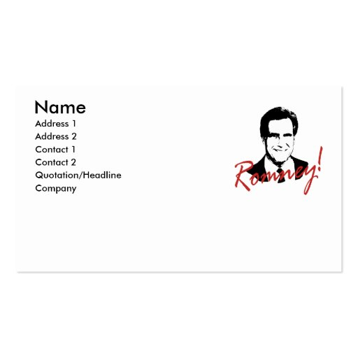 Romney Autographed Picture Business Card Template