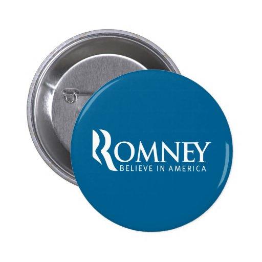 Romney Believe in America Button (Blue)