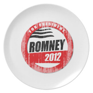 ROMNEY FOR PRESIDENT BUTTON PARTY PLATE