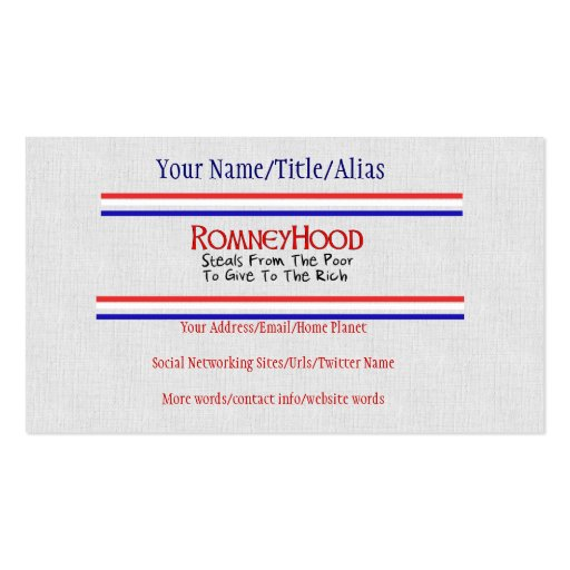 Romney Hood Business Card Templates