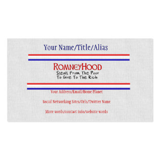 Romney Hood Pack Of Standard Business Cards