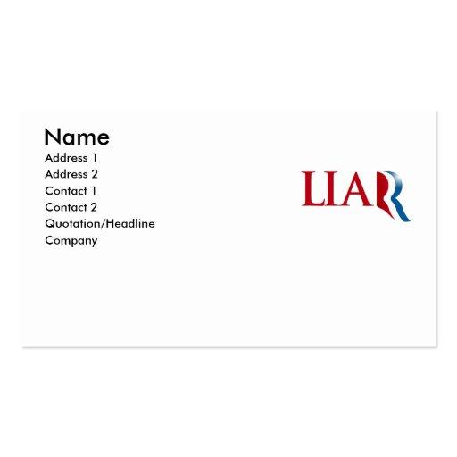 Romney is a Liar Business Card