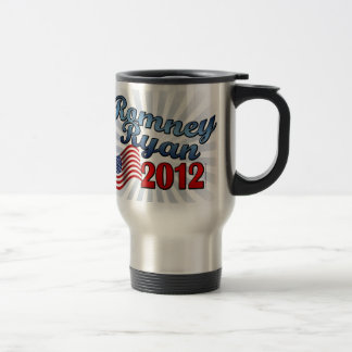 Romney Ryan 2012, Cute Script w/Flag Travel Mug
