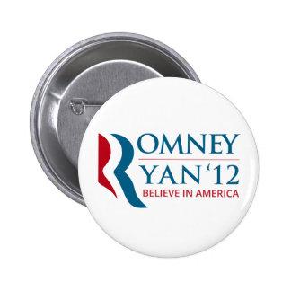Romney Ryan 2012 for US President and VP Pin