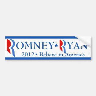 Romney Ryan 2012, White/Blue Bumper Sticker