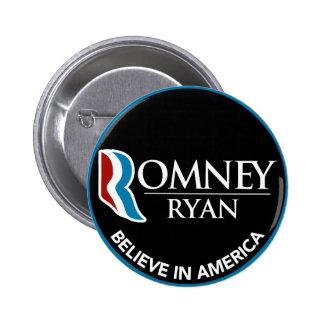 Romney Ryan Believe In America Round Black 6 Cm Round Badge