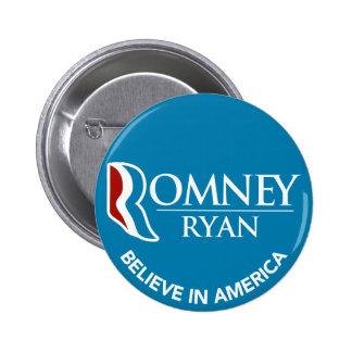 Romney Ryan Believe In America Round Blue 6 Cm Round Badge