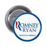Romney Ryan Believe In America Round Blue Border 6 Cm Round Badge