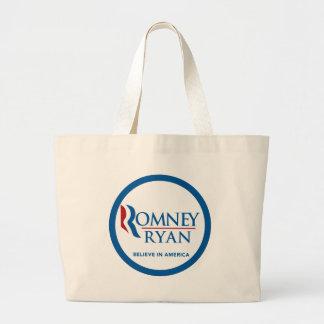 Romney Ryan Believe In America Round Blue Border Jumbo Tote Bag
