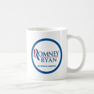 Romney Ryan Believe In America Round Blue Border Mugs