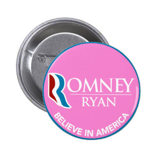 Romney Ryan Believe In America Round Pink 6 Cm Round Badge