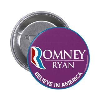 Romney Ryan Believe In America Round Purple 6 Cm Round Badge