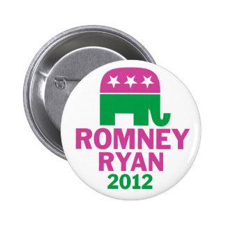 Romney Ryan - GOP Elephant for women pink green 6 Cm Round Badge