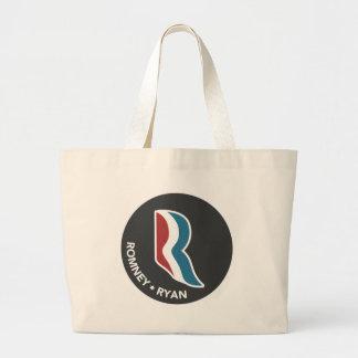 Romney Ryan R Logo Round (Black) Jumbo Tote Bag