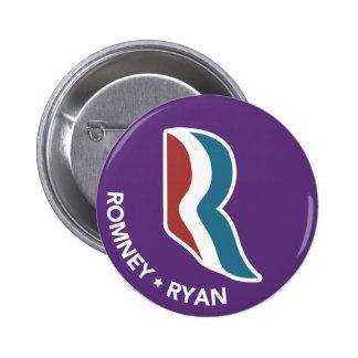Romney Ryan R Logo Round (Purple) 6 Cm Round Badge