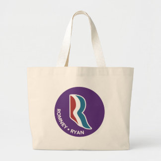 Romney Ryan R Logo Round (Purple) Jumbo Tote Bag