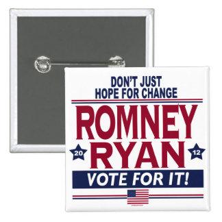 Romney Ryan Real Hope 2012 15 Cm Square Badge