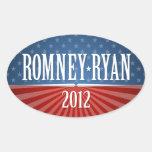 Romney Ryan - Stars and Stripes Oval Sticker